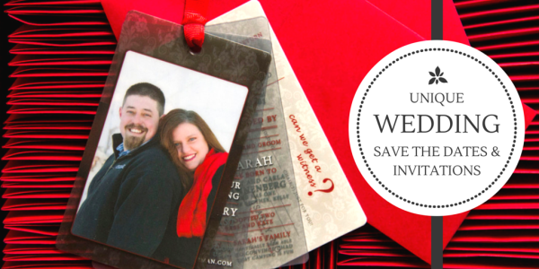 Unique Photo Save the Date Plastic Cards and Wedding Invitations