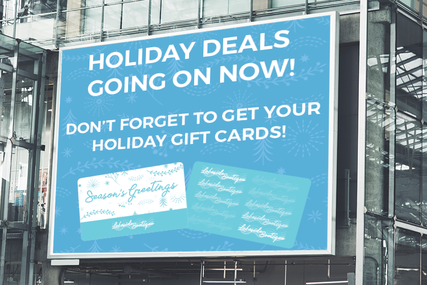 Billboard for custom gift cards for the holidays