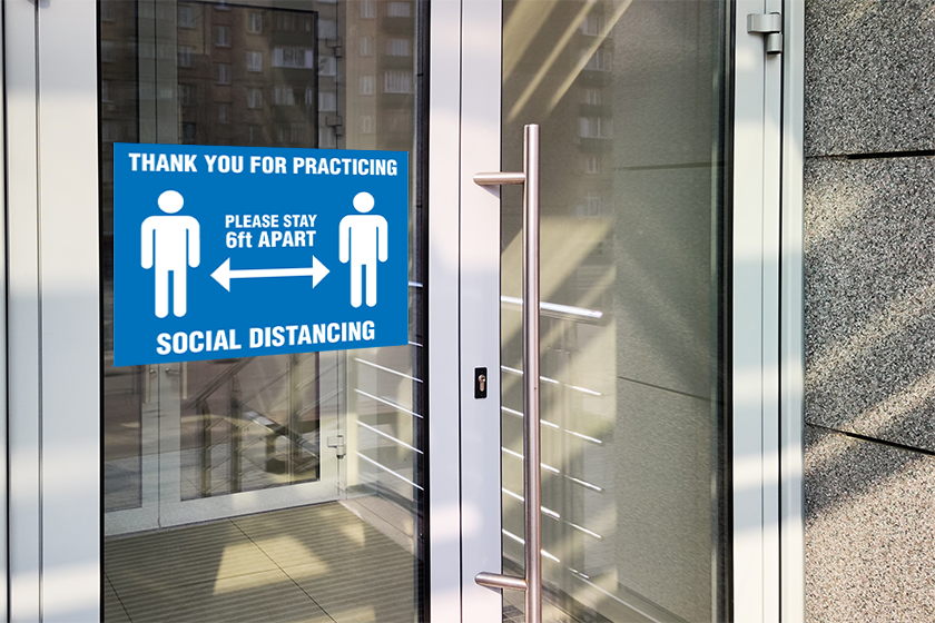 Custom signage - social distancing signs for a business