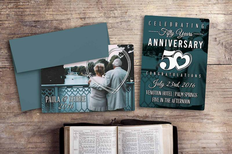 Example of Custom 50th Anniversary Plastic Invitation
