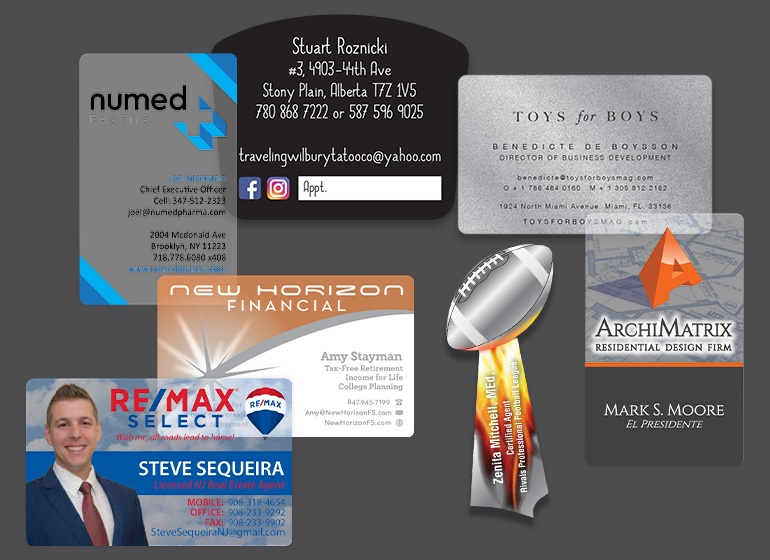 Example of a custom business card designs by Plastic Printers design team for our client Dazervin Photography.