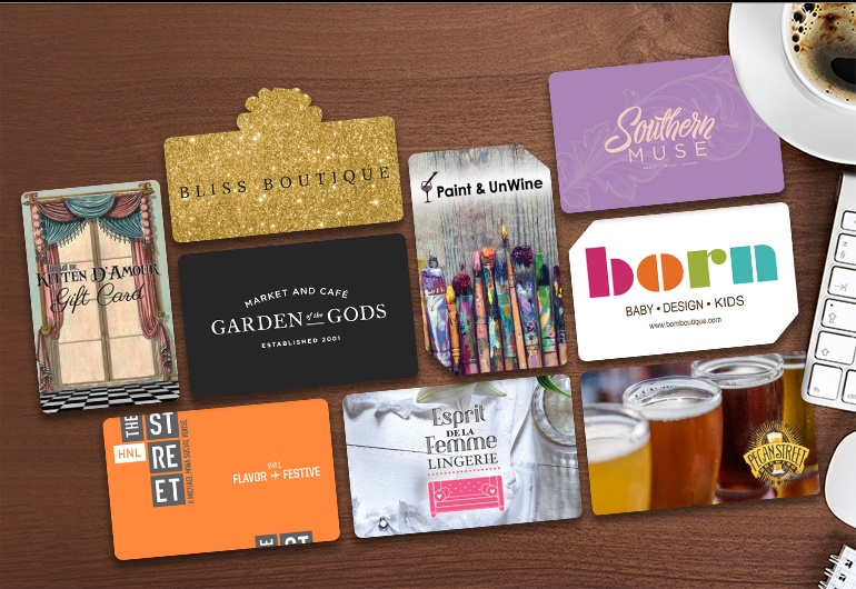 Example of custom plastic gift cards, gift card holders and display stand for Howse Find + Furnish