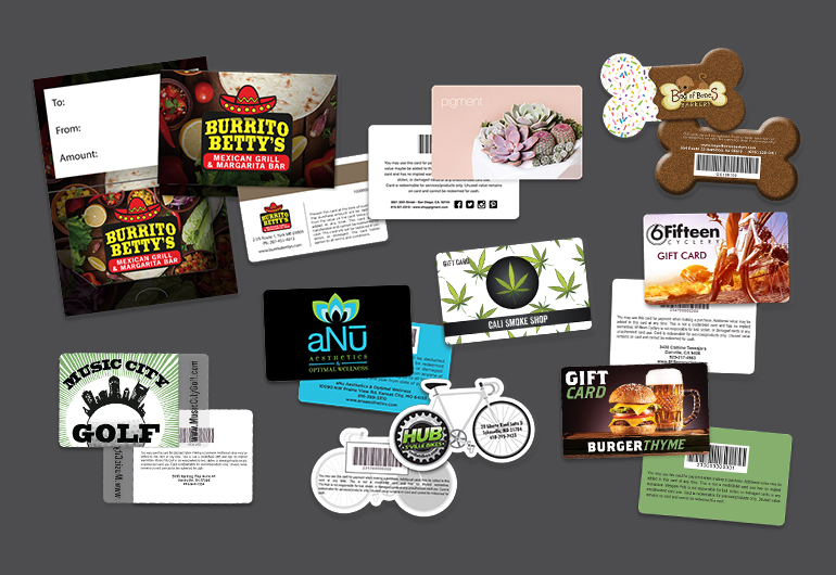 Custom Plastic Gift Cards with Gift Card Holder Samples - gift card printing