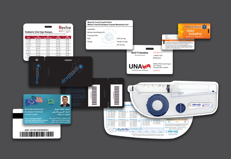 Example of custom medial cards from Plastic Printers, Inc.