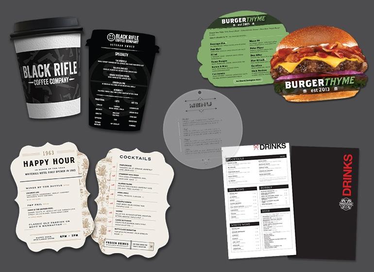 Custom plastic menus, die cut menus, custom shaped menus, drink menus, spiral bound menus and more