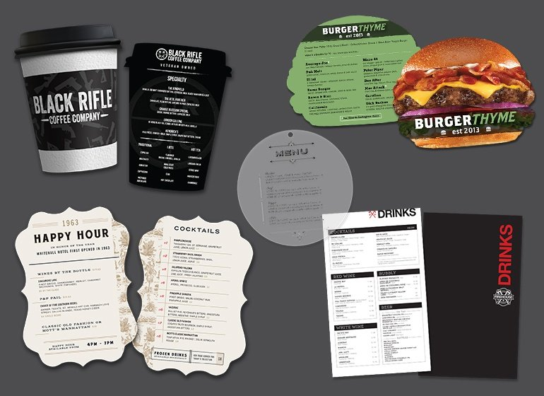 Restaurant menu, drink menu,  cafe menu, custom shaped menu, spiral bound menus and more