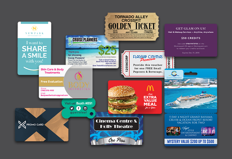 Example of custom promo cards from Plastic Printers, Inc.