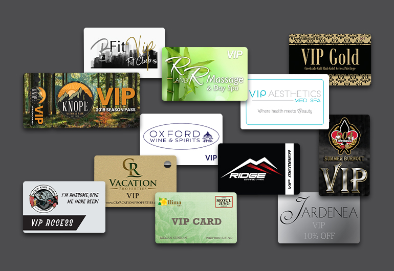 Example of VIP cards