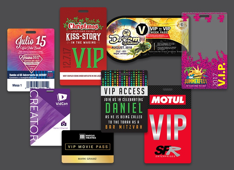 Custom VIP Passes, Access Badges, Convention Badges, ID Badges and more.