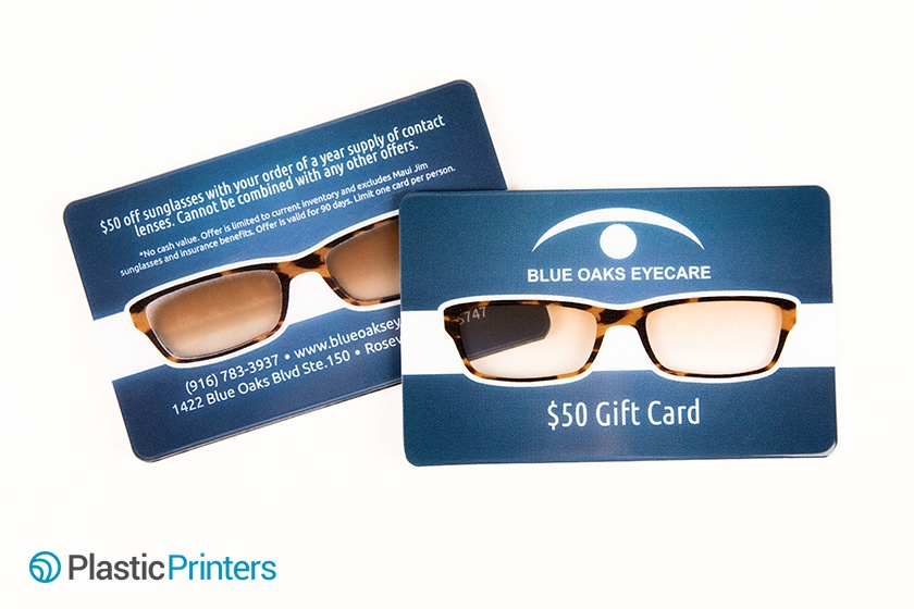 20 examples of plastic business cards that impress optometry marketing business card example from blue oaks eyecare colourmoves Choice Image