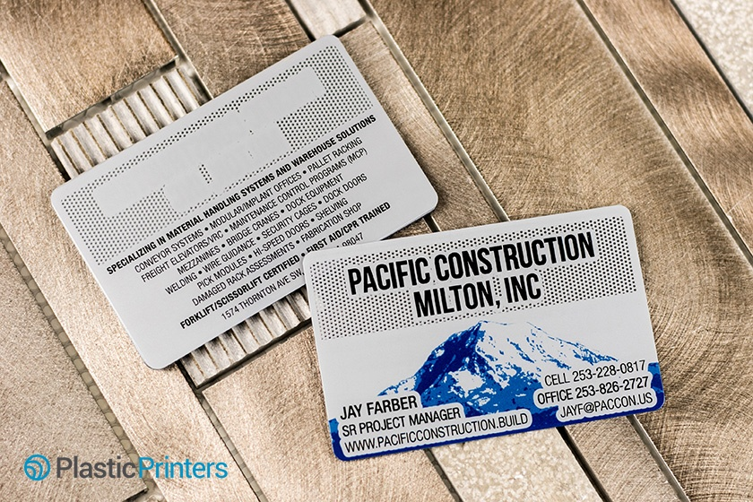 Metal Business Cards Example from Pacific Construction Milton INC.