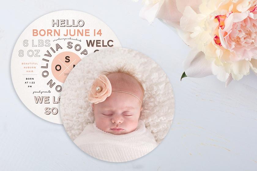 hello circle baby girl photo birth announcement