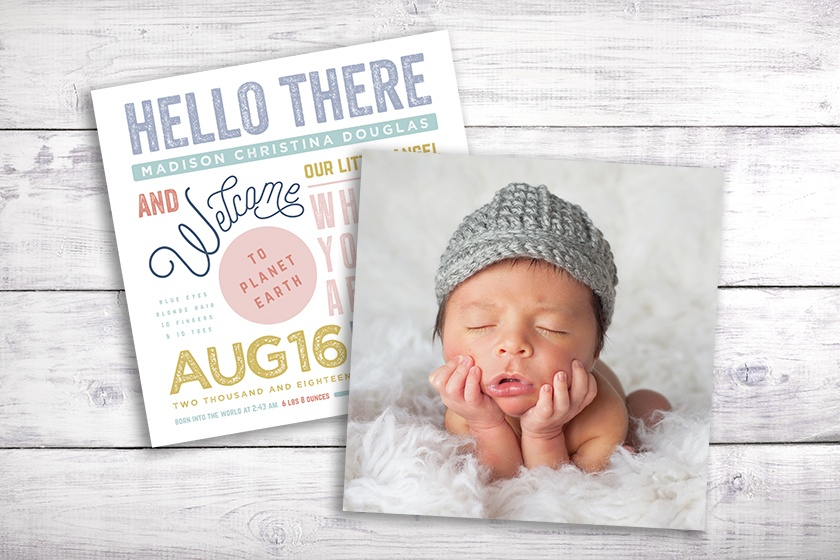 typography and photo baby announcement