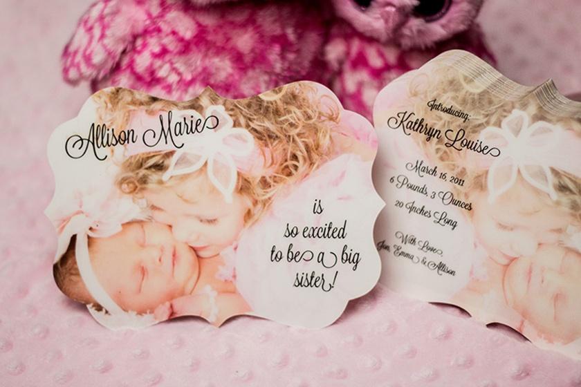 custom shaped die cut custom designed family baby announcment