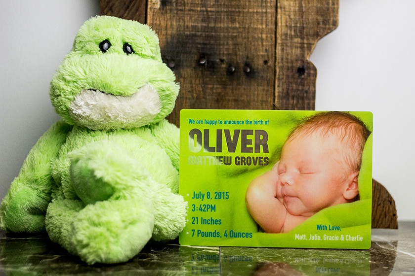 clear plastic baby announcements