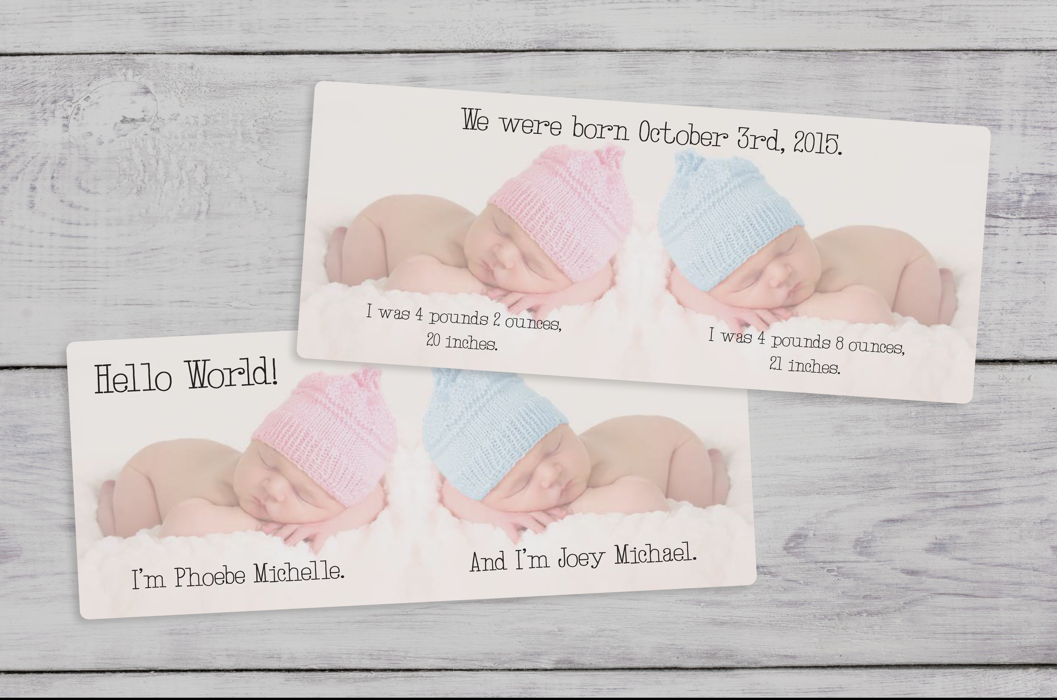 twin baby birth announcements