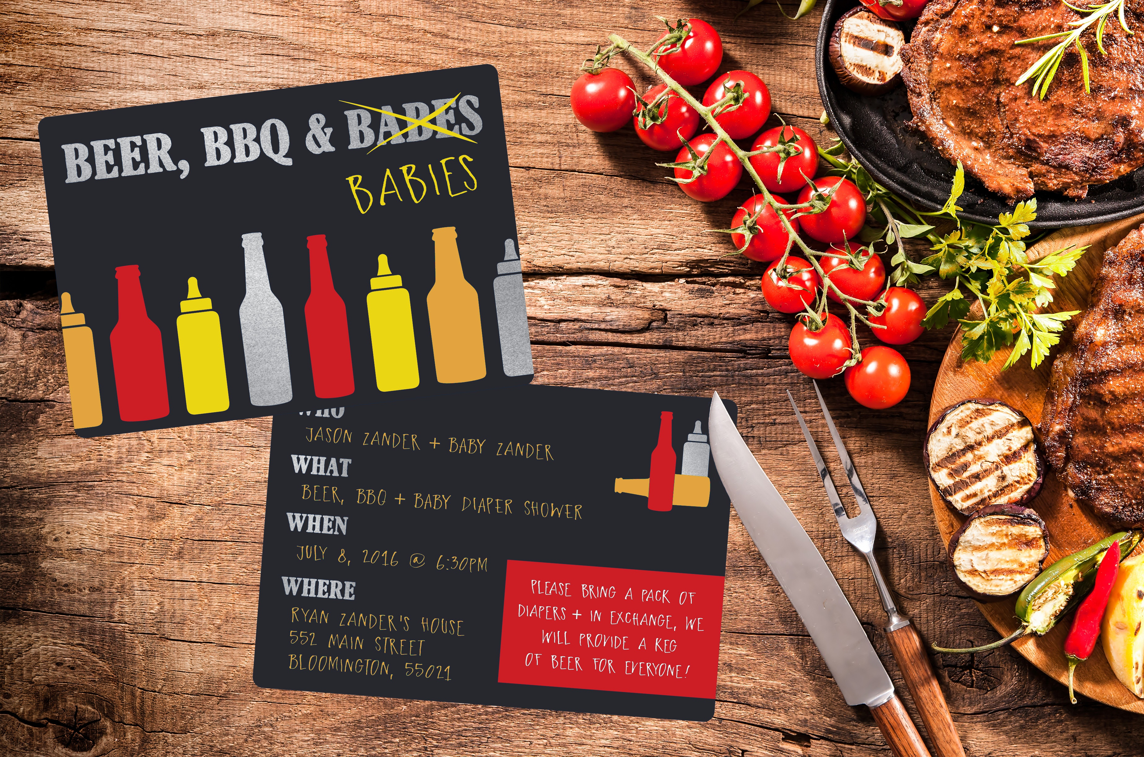 Beer, BBQ, & Babies baby shower invitation