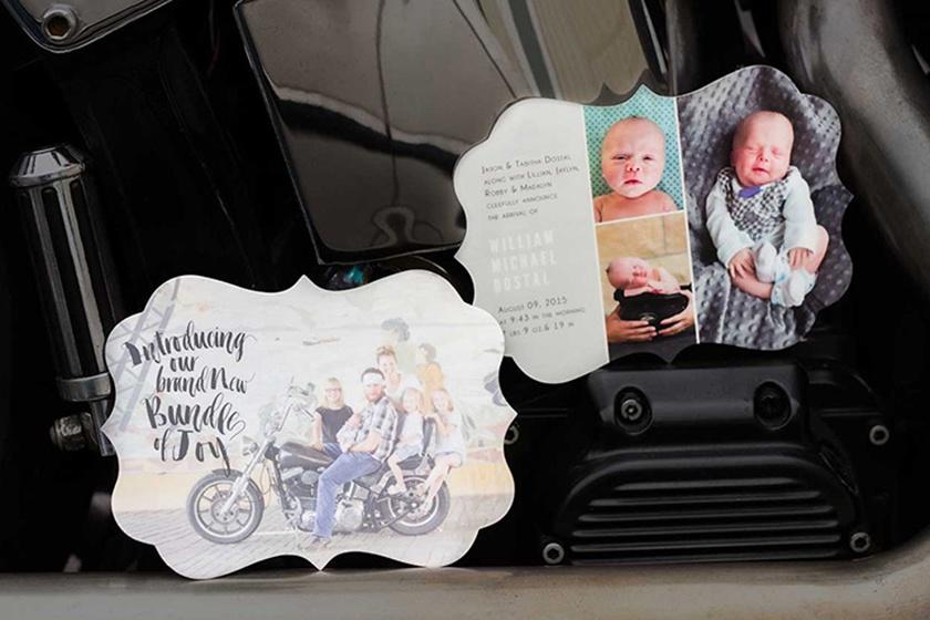 unique custom shaped family photo birth announcement