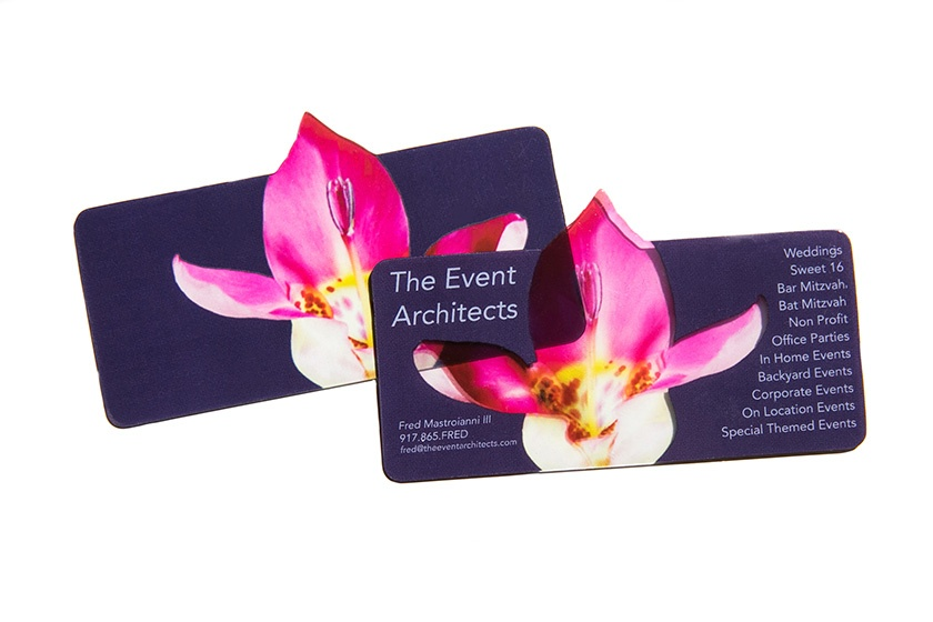 Examples of a Transparent Clear Plastic Die Cut Business Card