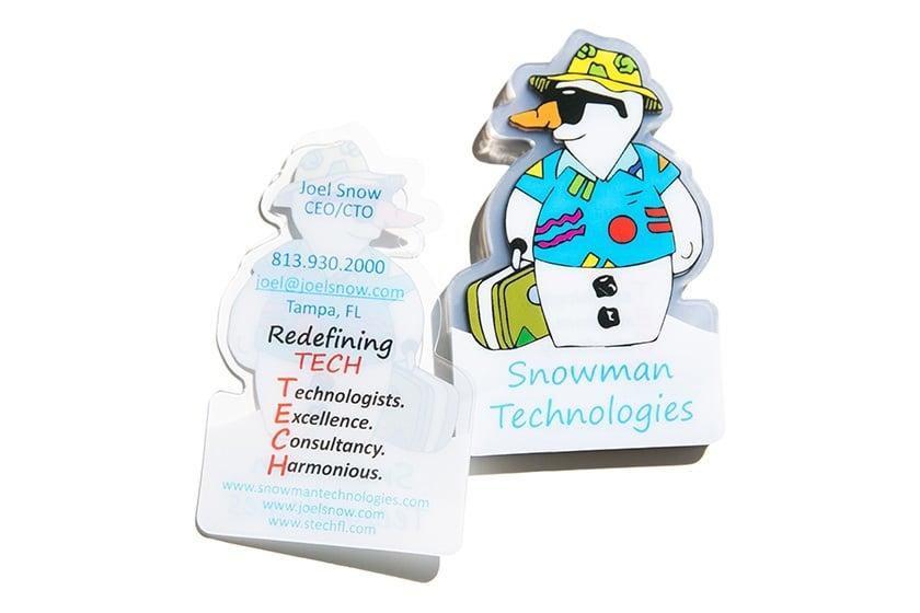Clear Plastic Snowman Die Cut Business Cards