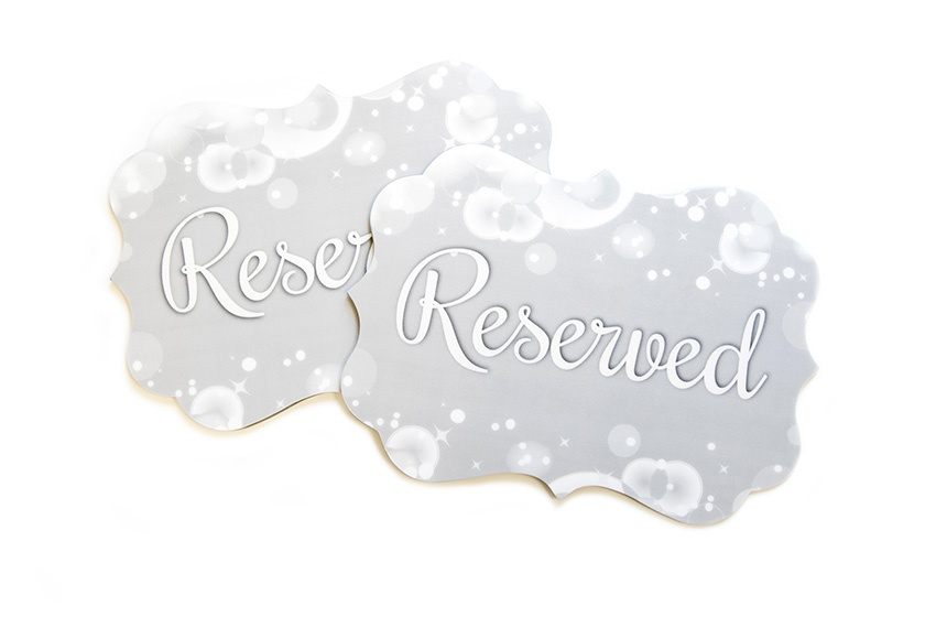 Fancy Wedding Reserved Reception Table Signs