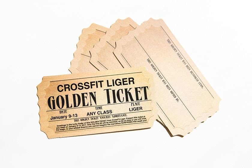 Golden Ticket Writable Gym Promotional Cards