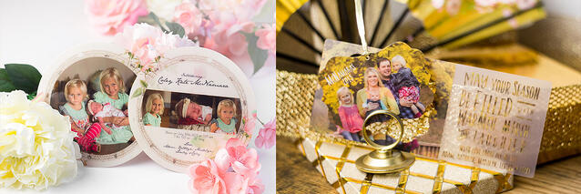 round birth announcement and fancy shaped pop-out card