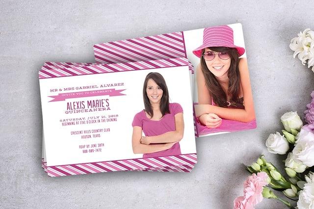 Pink pinstripes quinceañera invitations design