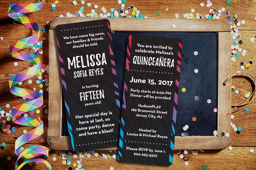 Chalkboard Font Quinceanera Invitations