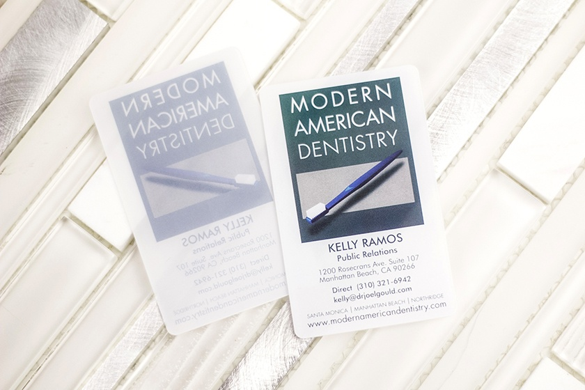 Business Card Frosted Satin Modern American Dentistry