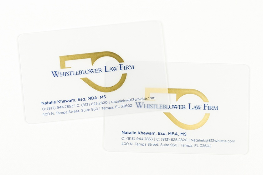 Business Card Satin Frosted Gold Foil Whistleblower Law Firm