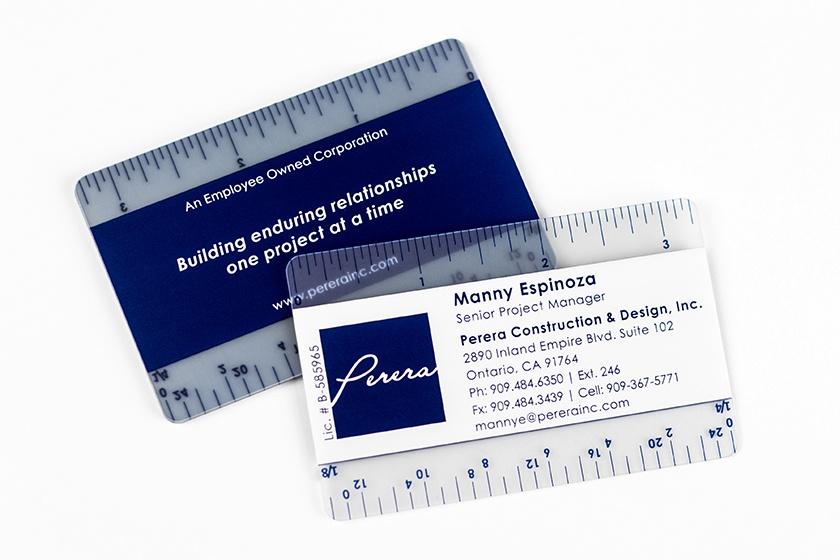 Business Card Satin Ruler Perera Construction Design