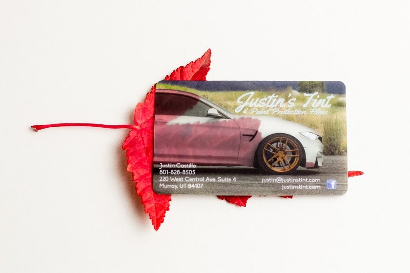 Business Cards Frosted Satin Justins Tint Automotive
