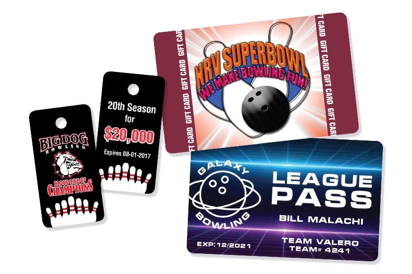Bowling Pass, Custom Gift Cards, & Key Tags