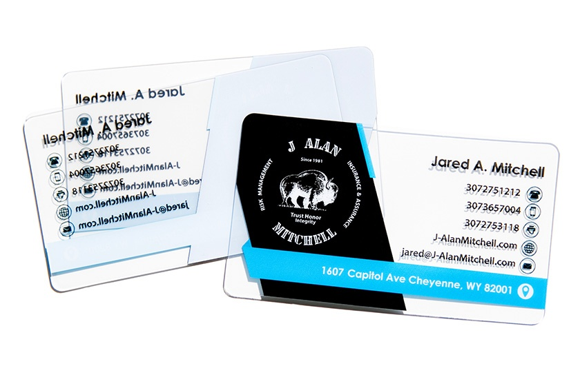 Clear Business Card with Social Media Icons