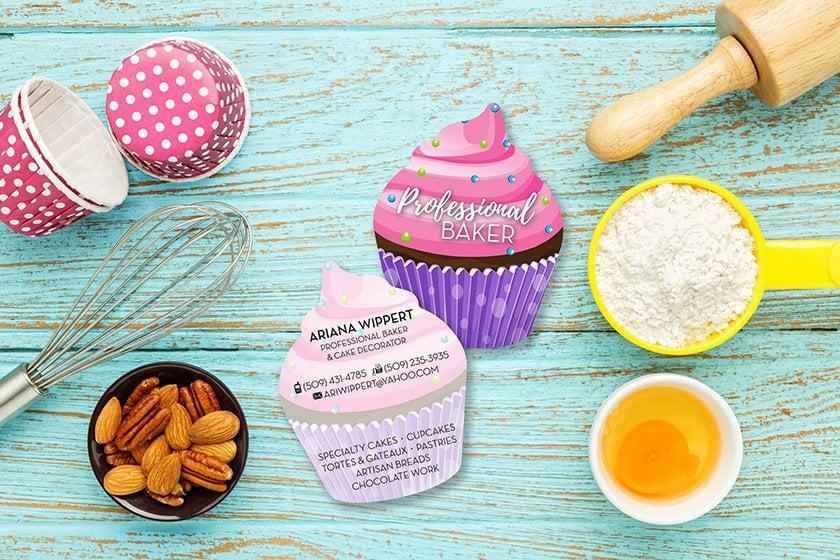Custom business cards shaped like a cupcake