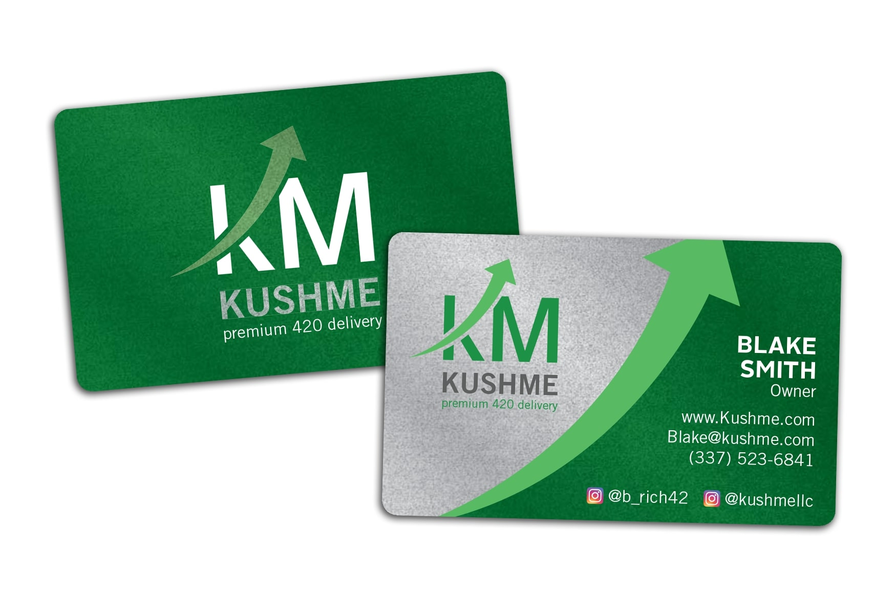 Weed Delivery Metallic Silver Business Cards for Kush Me
