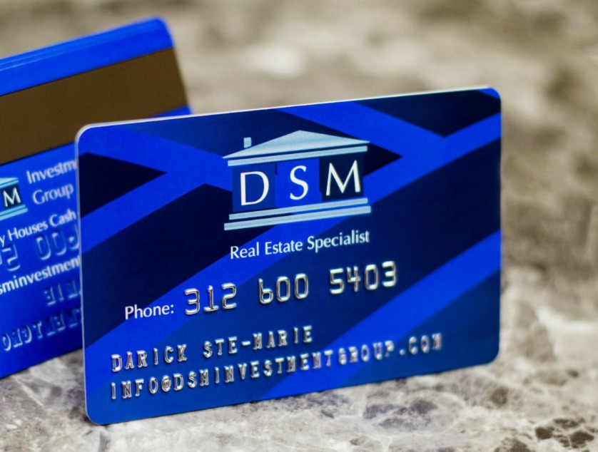 DSM Realtor Business Cards with Embossing and Magnetic Stripe