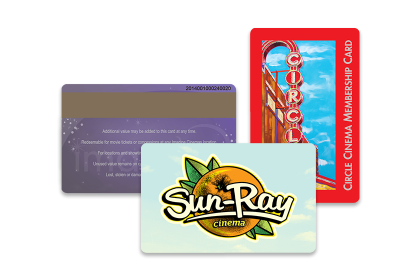 Membership cards and custom gift cards with mag stripe for movie theatre