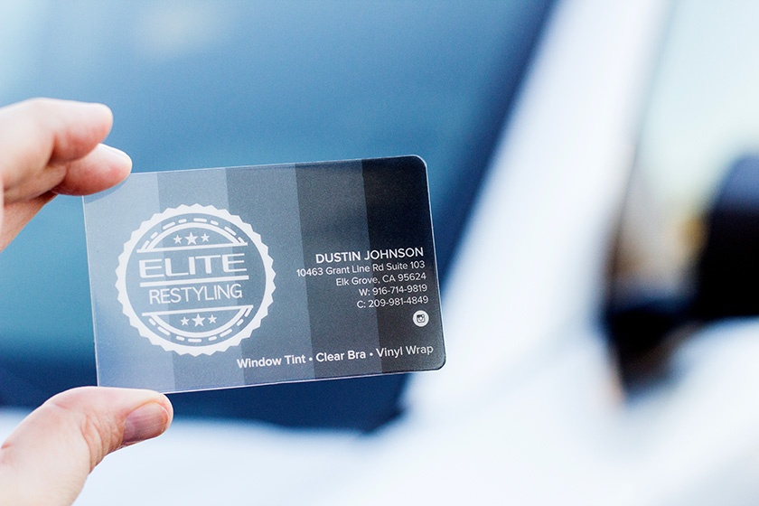Clear Business Card Elite Restyling Window