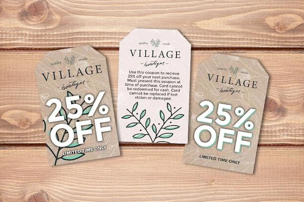 Example of discount card for Village Boutique