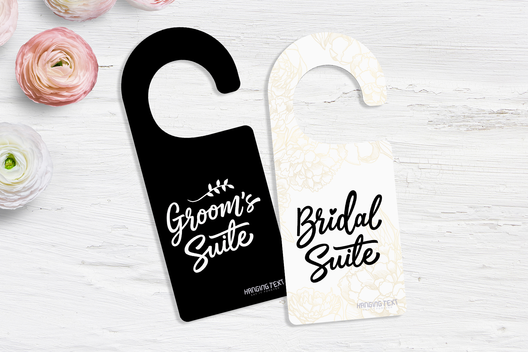 Wedding door hangers from Plastic Printers