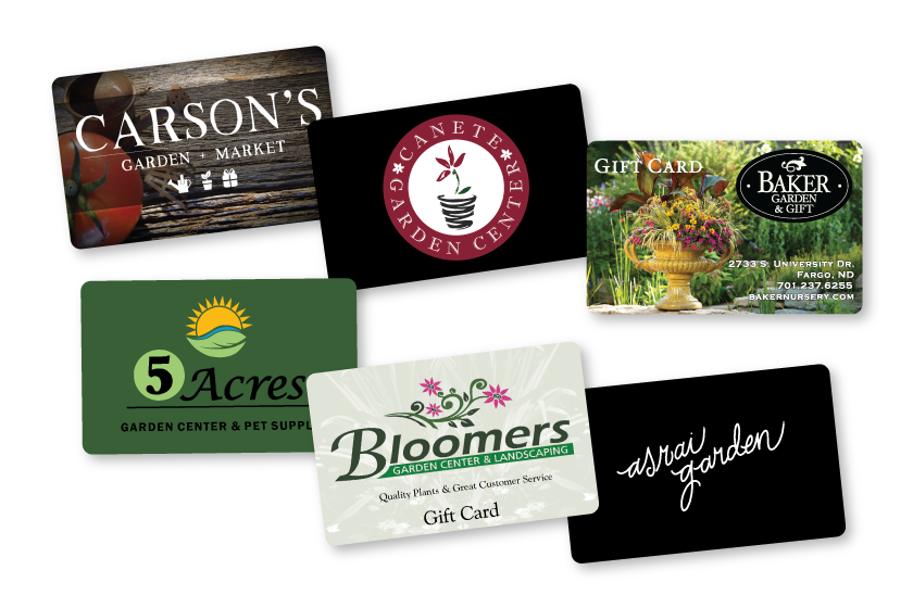 Gift cards for garden centers compatible with FloristWare