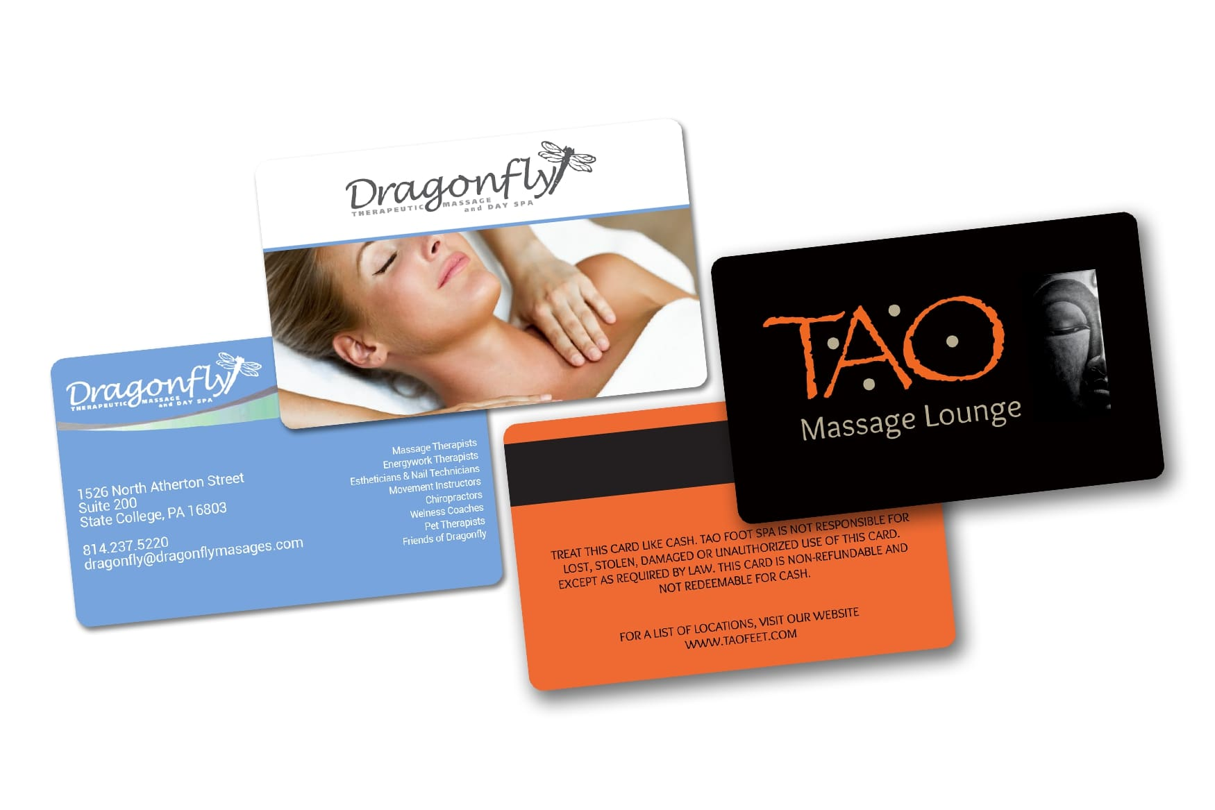 Massage therapy business cards and gift card with magnetic stripe