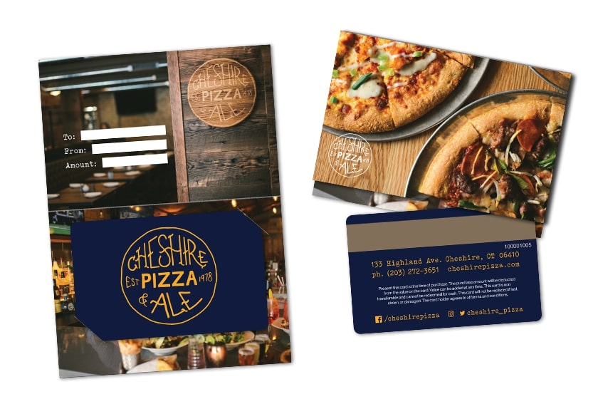 Pizza Gift Cards and Custom Gift Card Backers for Cheshire Pizza & Ale