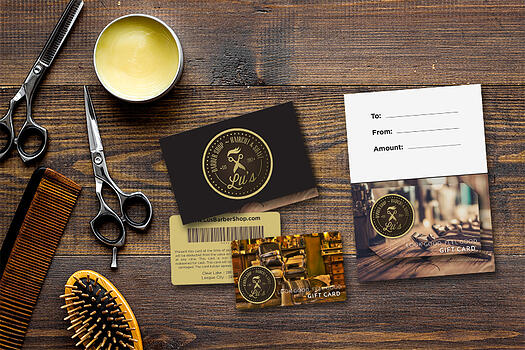 Custom gift cards for a barber shop - gift card printing
