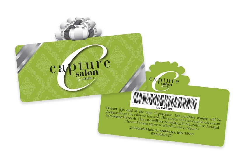 Hair Salon Gift Cards in the shape of a present with a barcode