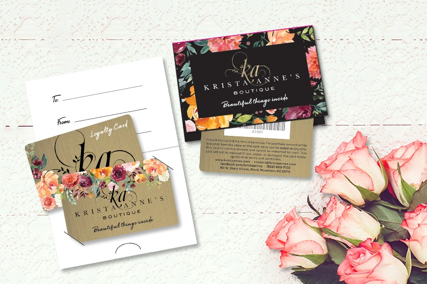 Example of custom loyalty card for Krista Annes Boutique