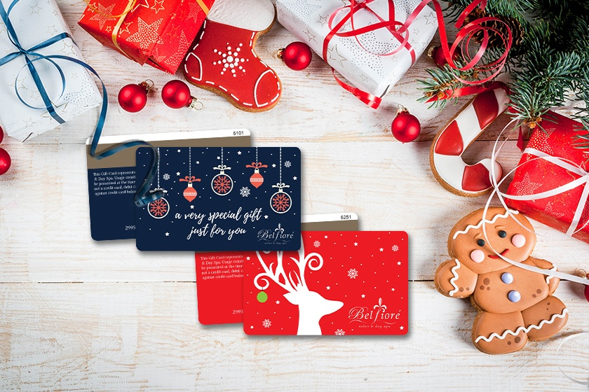 Holiday gift cards for a spa
