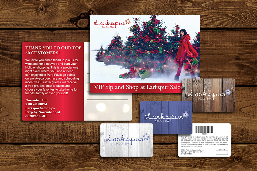 Gift-Card-Postcard-Versions-Barcode-Writable-Larkspur-Salon-Spa-KT5700-HS094743-HS093907-Sample